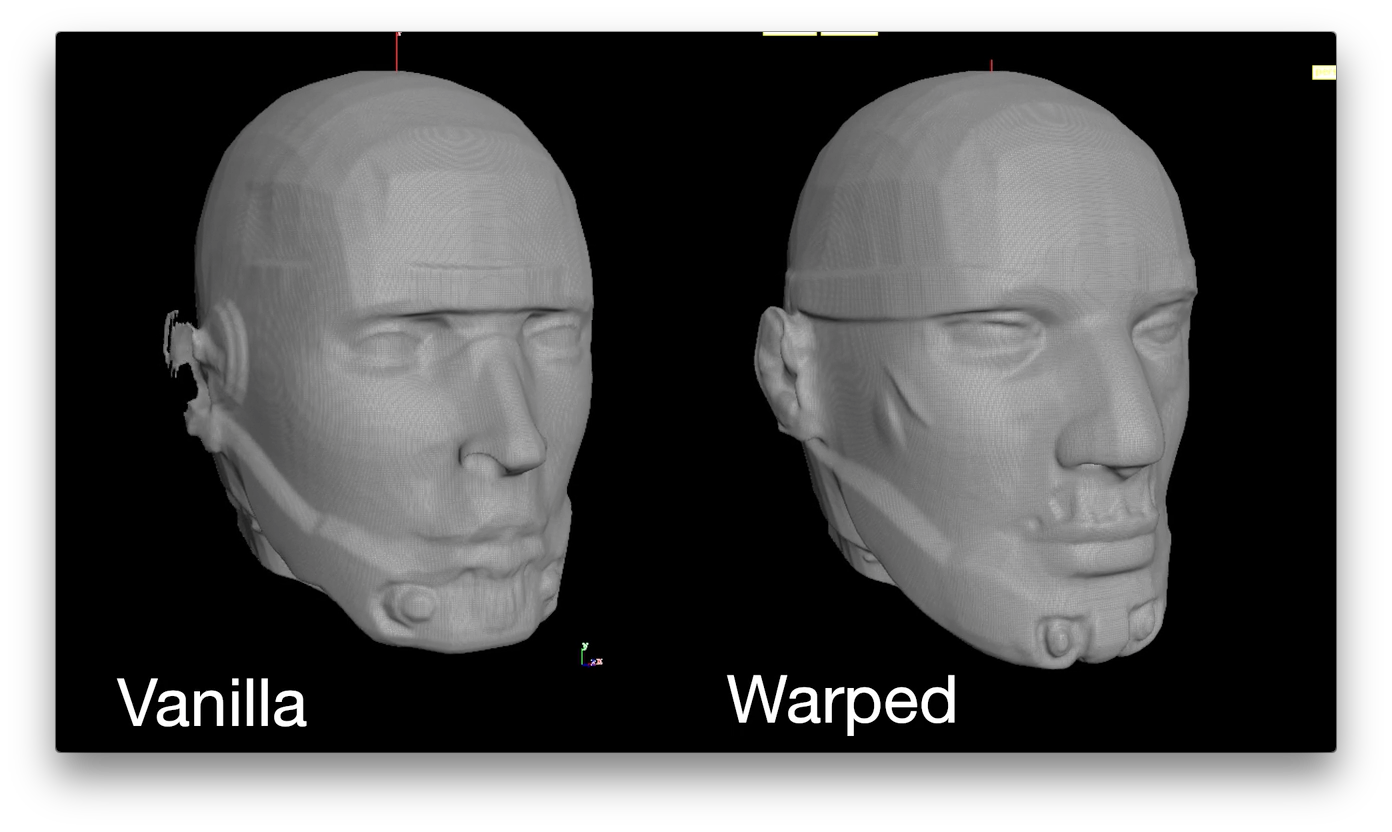 Existing Morphing Technique(left) compared to ours(right)